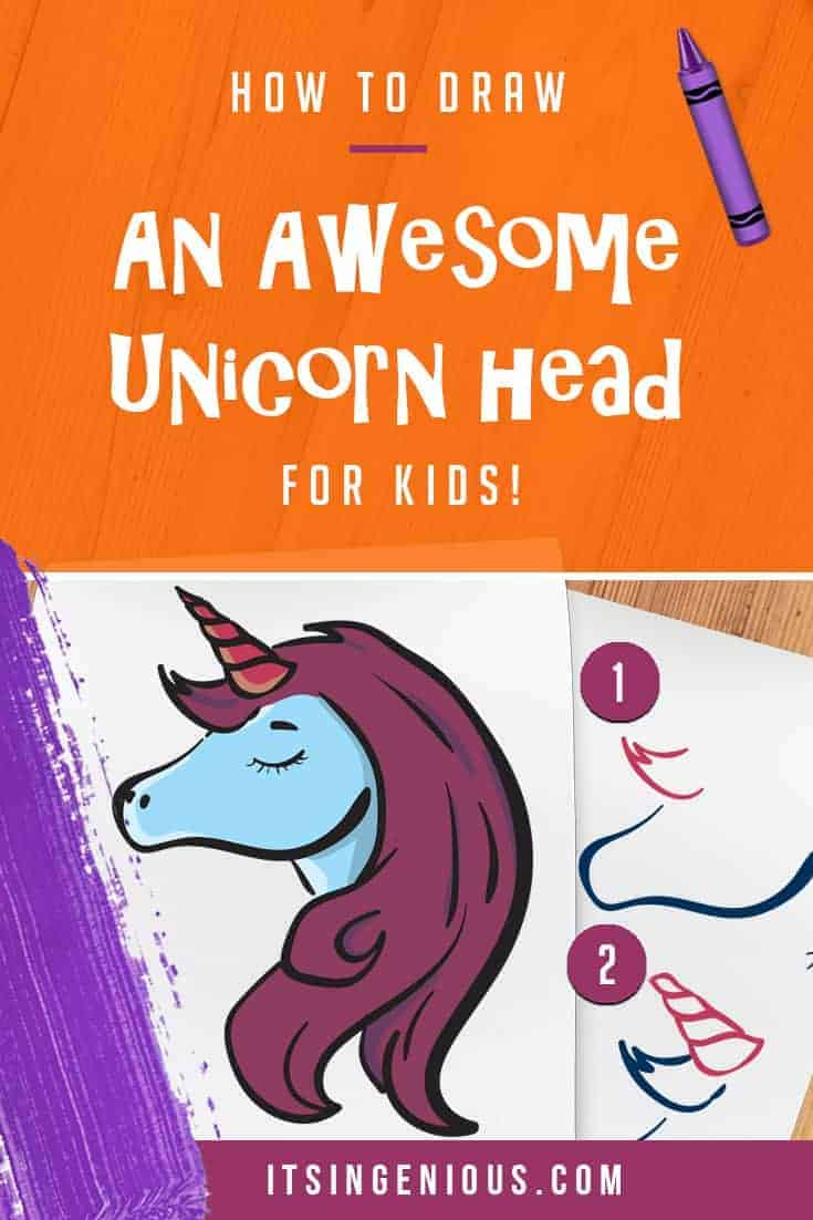How to draw a unicorn head for kids its ingenious
