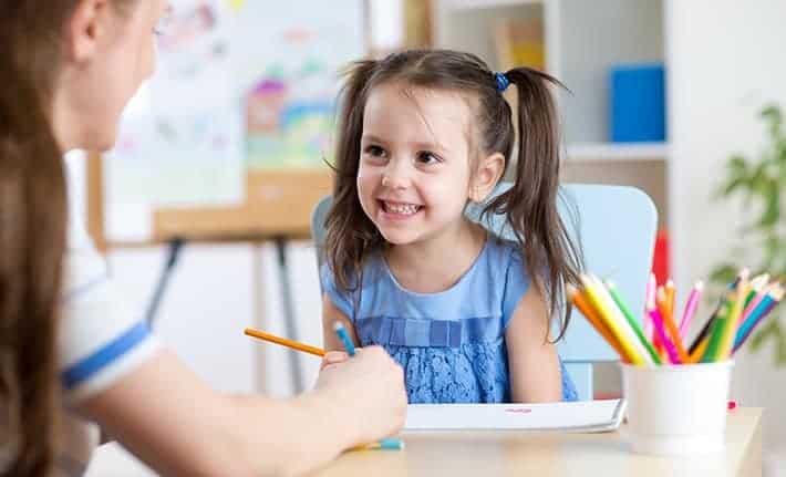 Kids art studio with kids painting