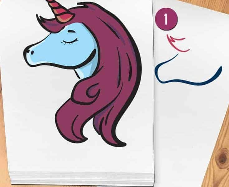 how to draw a unicorn head