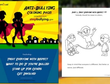 Anti-Bullying Coloring Pages Book, cover and first page